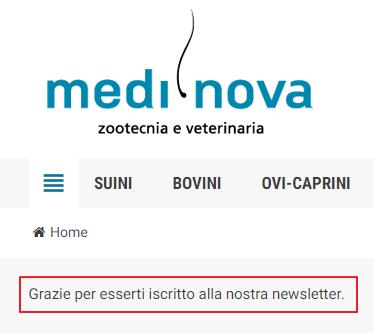 Conferma iscrizione newsletter