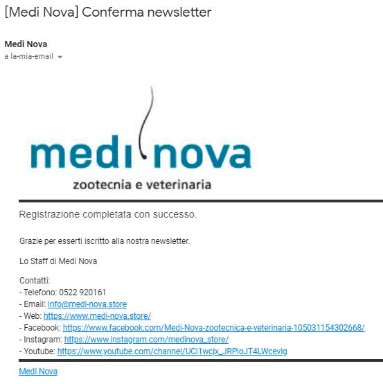 Email conferma iscrizione newsletter