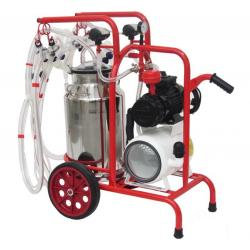 Goat milking machine with 4 groups with 1 bin