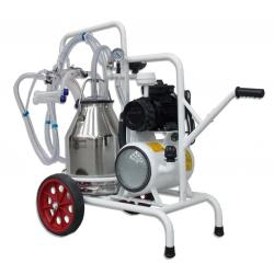 Goat milking machine with 2 groups with 1 bin