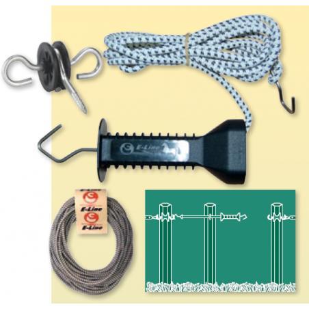 Cancello con corda elettrica elastica per recinti
