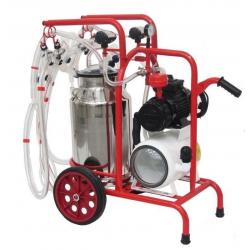 Milking machine for sheep, 4 groups with 1 bin