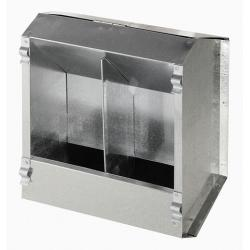 Galvanized automatic feeder with 2 compartments for rabbits