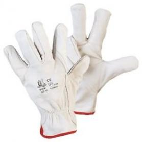 Leather gloves, white color