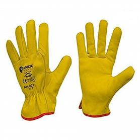 Leather gloves, yellow color