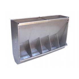 Mangiatoia a tramoggia per svezzamento con cinque scomparti in acciaio inox